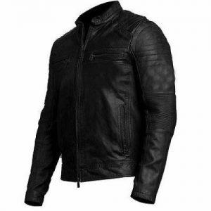 Men's Fashion Biker Vintage Style Cafe Racer Black Leather Jacket