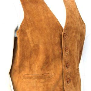 Men's Gents Tan Suede 5 Button Vintage Designer Fashion Party Leather Waistcoat