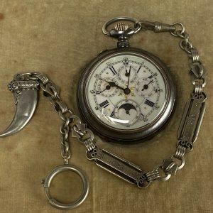 Montre Gousset Triple  Quantiéme Old Pochet Watch Triple Calendar Moon Phases