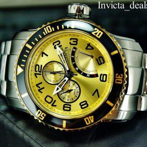 NEW Invicta Men's 48mm Pro Diver SCUBA RENEGADE Gold Dial Silver Tone SS Watch