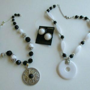 Necklace & Earring Lot - pendant, black & white beads