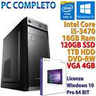 PC COMPUTER DESKTOP GAMING CORE i5-3470 16GB SSD 120GB HDD 1TB DVD-RW RX 550 4GB