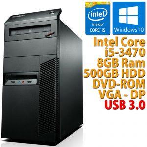 PC COMPUTER DESKTOP RICONDIZIONATO LENOVO M92P TOWER CORE i5-3470 8GB HDD 500GB