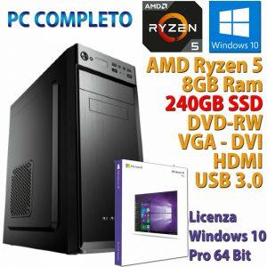 PC COMPUTER DESKTOP WINDOWS 10 ASSEMBLATO AMD RYZEN 5 3400G RAM 8GB SSD 240GB