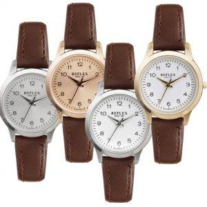 Reflex Ladies Quartz Analogue Brown Leather Strap Watch