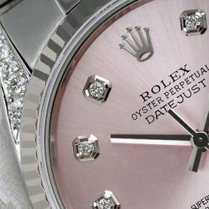 Rolex 36mm Datejust Watch Stainless Steel Metallic Pink Diamond Dial & Lugs