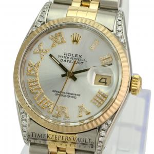 Rolex Mens Datejust 16233 Two-tone 36mm Silver Roman Diamond Dial Lugs  Watch