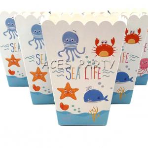 Sea Animal Popcorn Box Kids Party Tableware Birthday Decorations Supplies