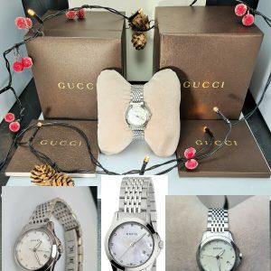 Stunning GUCCI 126.5 G Timeless YA126504 Silver Pearl Diamond Date Watch