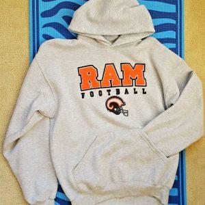 Team Apparel NFL Rams Football Kangaroo Hoodie Graphic Sweatshirt Gray Large