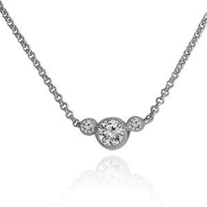 Three Stone Cubic Zirconia Pendant Necklace in Silver #P943