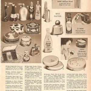 VINTAGE 1959 COLOGNE MAKEUP HAIR PRODUCTS CREAMS CATALOG PRINTS ADS