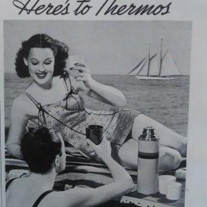 Vintage 1940's Art Decor 1940 Thermos Product Line Ad Woman & Man Bathing Suit