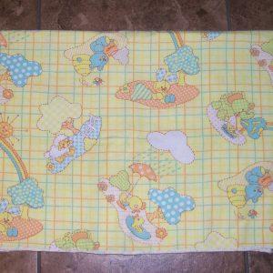 Vintage Receiving Blanket Yellow Blue Elephant Sheep Duck Bear Baby Animals