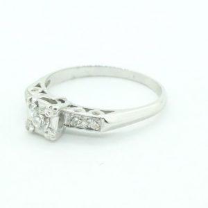 Women's 14k White Gold Deco Diamond engagement Ring .30Ctw #21306