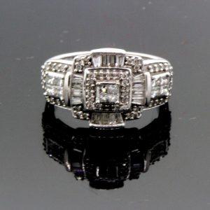 Women's 14k White Gold & Diamond Ring 6.4g 1.25 TCW Size 7  #30846