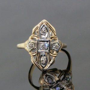 Women's 14k Yellow Gold & Diamond Ring 0.15 TCW H-I SI1-SI2 Size 6.5 2.6g #31850
