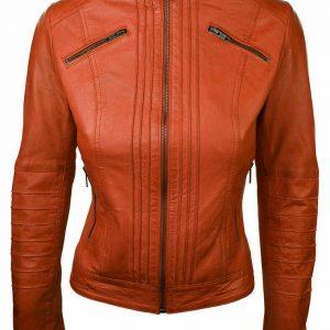 Women's New Fashion Jackets Orange Premium Quality Retro Vintage Bomber Jackets