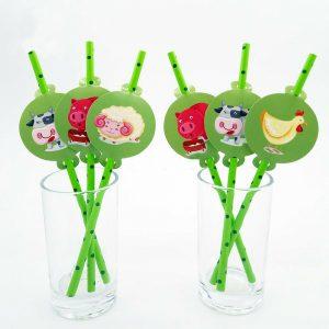 12pcs Farm Animal Straws Party Supplies Decoration Biodegradable Paper Straw