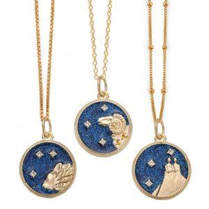 14k Gold Filled Zodiac Necklace, Zodiac Coin Necklace, Celestial Jewelry