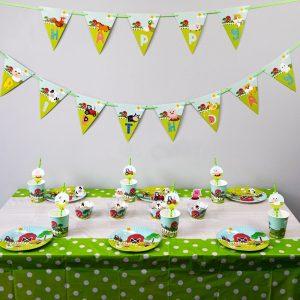 8 Style Farm Animal Plates Flag Party Tableware Birthday Decorations Supplies