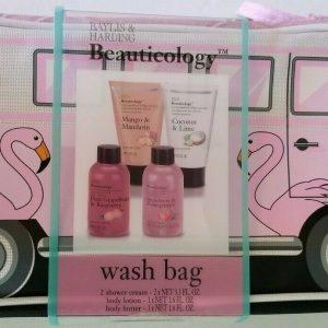 Baylis & Harding Beauticology Wash Bag Pink VW Flamingo Bus + 4 Bathing Products