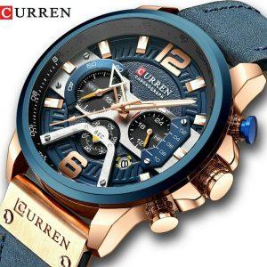 CURREN Casual Sportuhren für Herren Military Leather Chronograph Wrist Watch