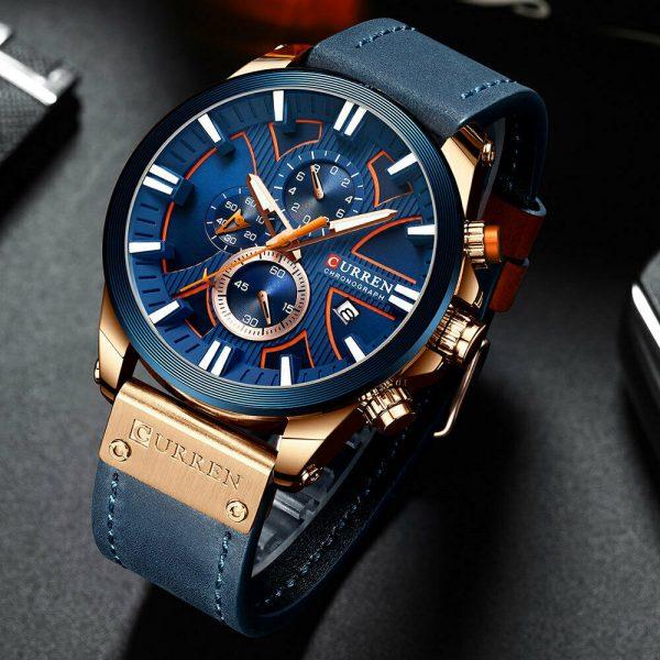 Chronograph Wristwatch Male Quartz Watch Curren Leather Strap Steel Top Brand