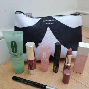 Clinique Marimekko Makeup bag + 7 products.BRAND NEW