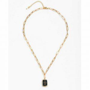 Cross Square Pendant Link Necklace