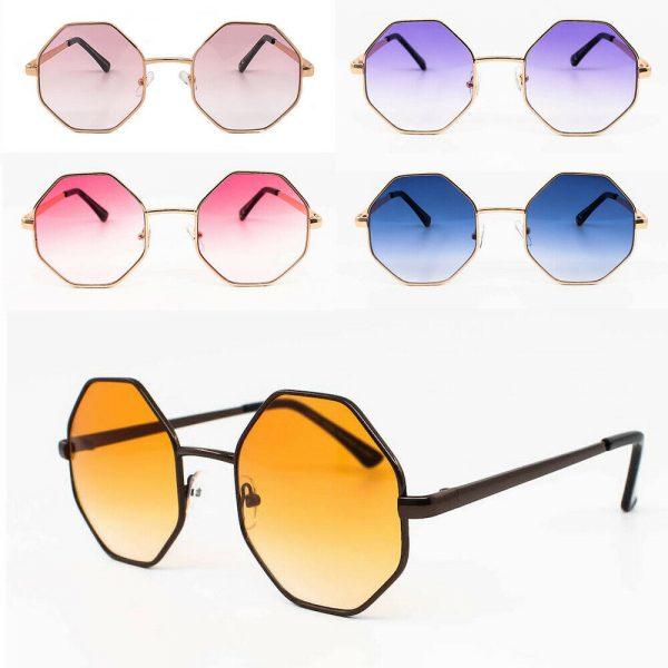Fashion Oversize Vintage Octagon Ladies Indie Festival Party Sunglasses