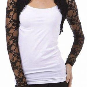 Fashion Secrets Women`s Long Sleeves Lace Bolero Shrug Cropped Cardigan Jacket