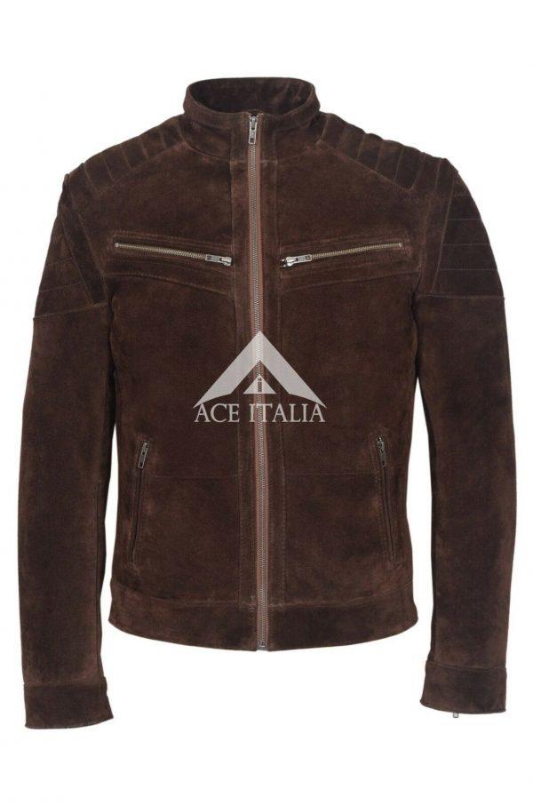 GARETH Men's Supple Brown Soft Suede Fashion Biker Stand Collar Jacket 8334