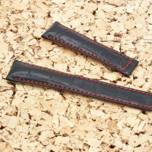 Genuine Leather Alligator Grain Padded Deployment Watch Strap 22-18mm Black&Red