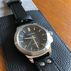 Grant Brown Aeronautic Black Leather Watch (9415E)