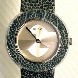 Gucci Watch YA129409 NWT Warranty Blue Ostrich Leather G Timeless U-Play RARE