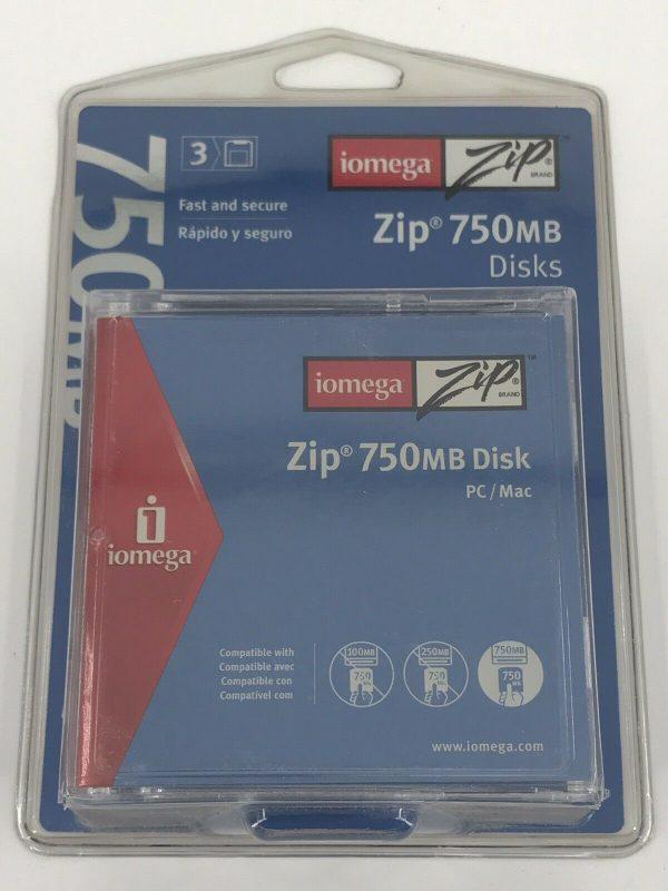 Iomega Zip Disks 3-Pack 750MB for PC or MAC Data Storage Disc Blank Media NEW