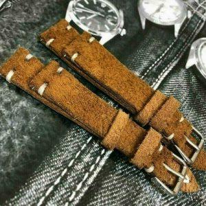 Italian Vintage Genuine Suede Leather watch strap H/M 18 19 20 22mm Blue, Khaki