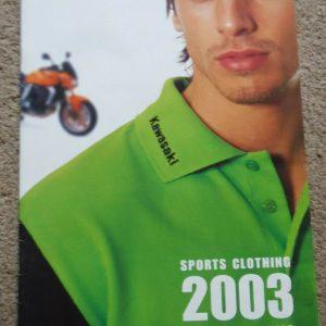Kawasaki Sales Leaflet / Brochure Sports CLothing and Accessories 2003