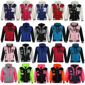 Kids Girls Boys Baseball R Fashion Hooded Jacket Varsity Hoodie Age 2-13 Years