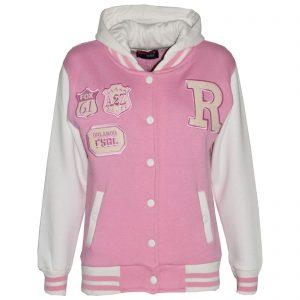 Kids Girls Designer's R Fashion Baseball Baby Pink Hooded Jackets Varsity Hoodie