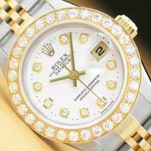 LADIES ROLEX DATEJUST TWO TONE 1.13 CT DIAMOND 18K YELLOW GOLD & STEEL WATCH
