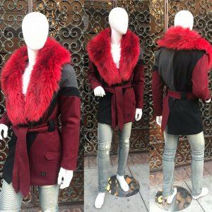 Men's Black | Grey | Burgundy Faux Fur Fashion Jacket