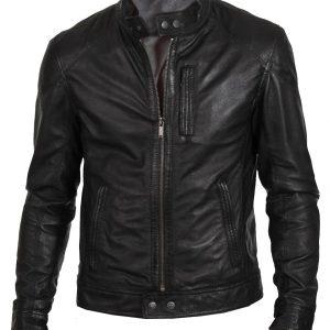 Men's Black Lambskin Classic Fashion Biker Jacket In Real Leather