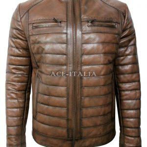 Men's Chestnut Stylish Luxury Casual Real VEGE Napa Leather Fashion Jacket 9050