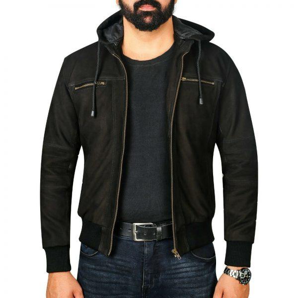 Men's Iconic Leather Bomber Jacket Fashion Hooded Christmas Wear Jacket