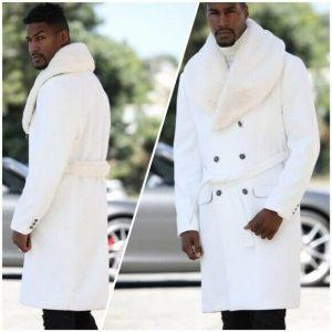Men's Ivory Faux Fur Fashion Jacket