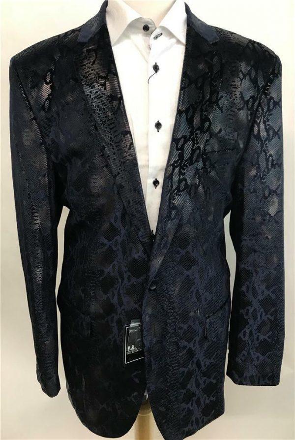 Men's New Pronti by Phita Navy Blue Snakeskin Print Fashion Blazer Jacket B6196