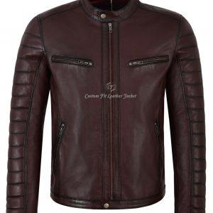 Men's Real Leather Jacket Cherry 100% Lambskin Casual Fashion biker style 4232