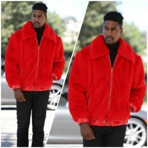 Men's Red Faux Fur Fashion Jacket